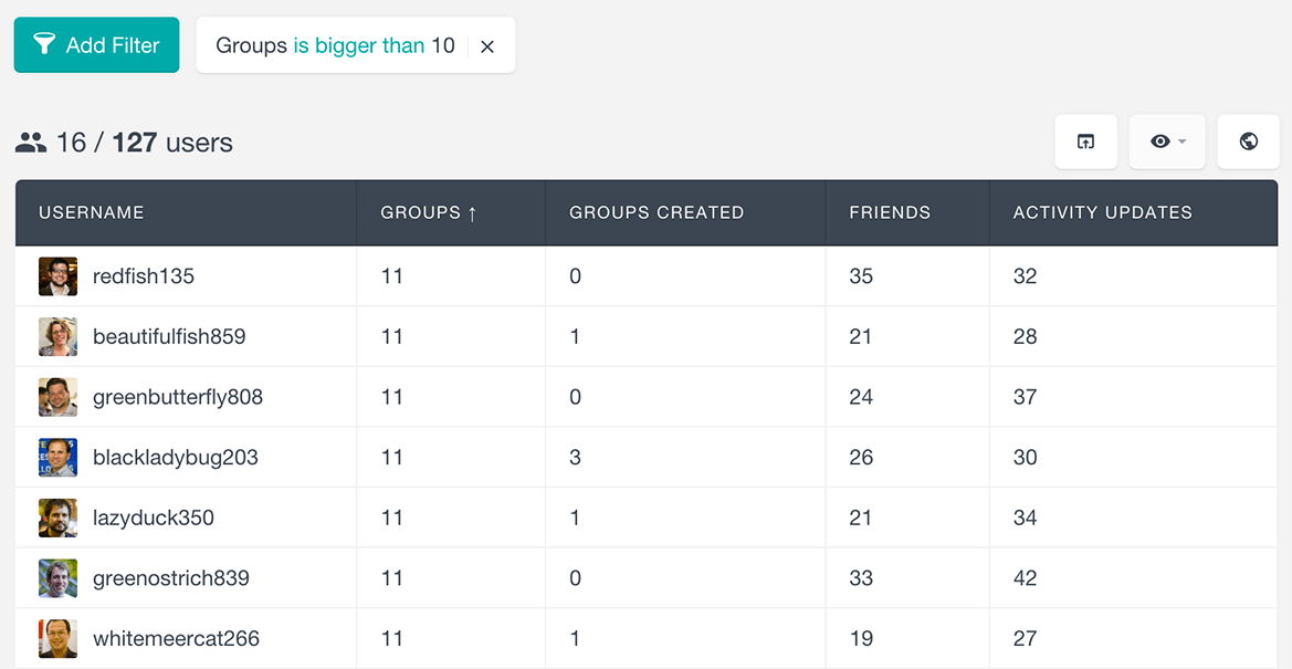 Filter BuddyPress users by number of groups created