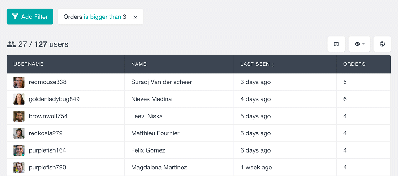 Filter WooCommerce users by number of orders