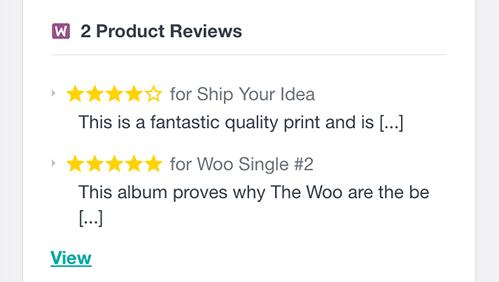 WooCommerce customer reviews list