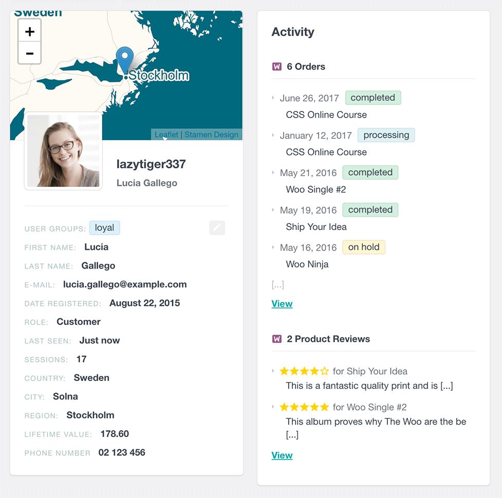 WooCommerce user profile order history