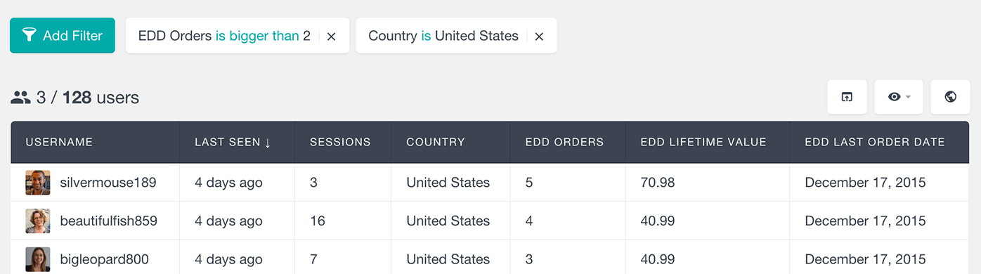 easy digital downloads filter by lcountry and number of orders