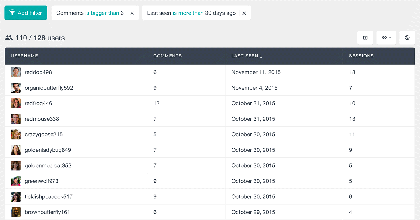 users insights filter wordpress users by number of comments