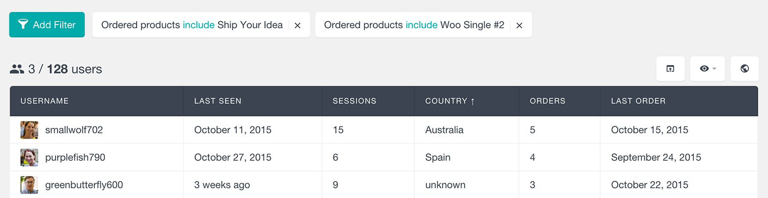 WooCommerce customers who have ordered two different products