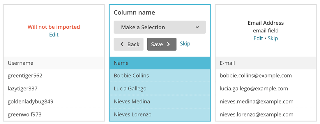 Mailchimp select imported WordPress users columns