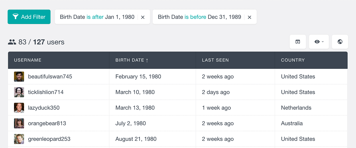 buddypress filter members by date field users insights
