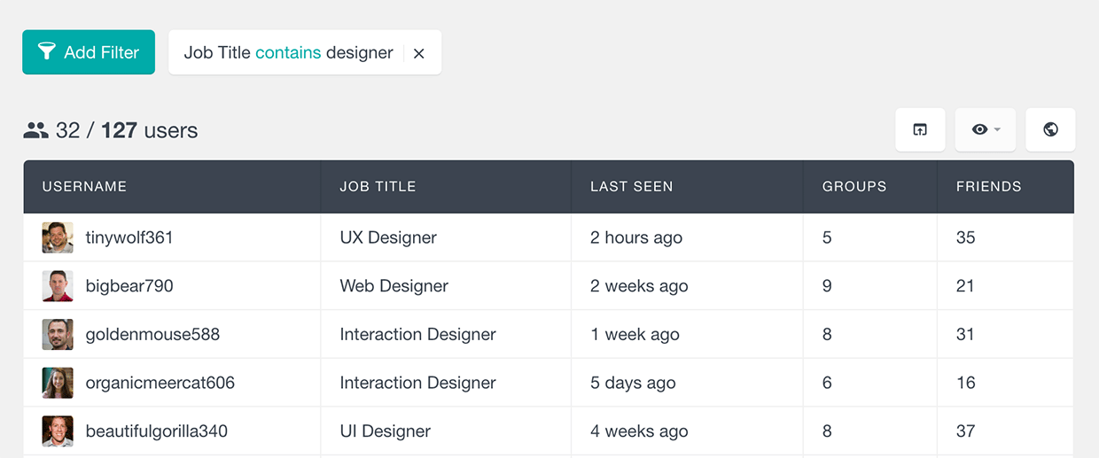 buddypress filter users by job text field