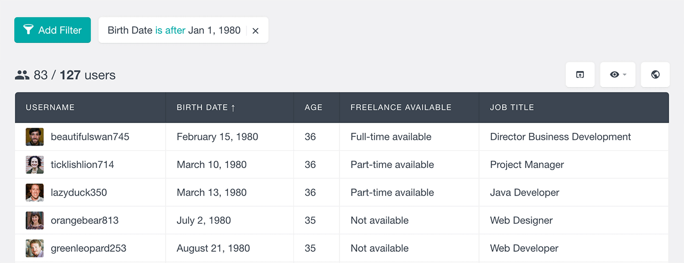 Users Insights ultimate member filter users by birth date field