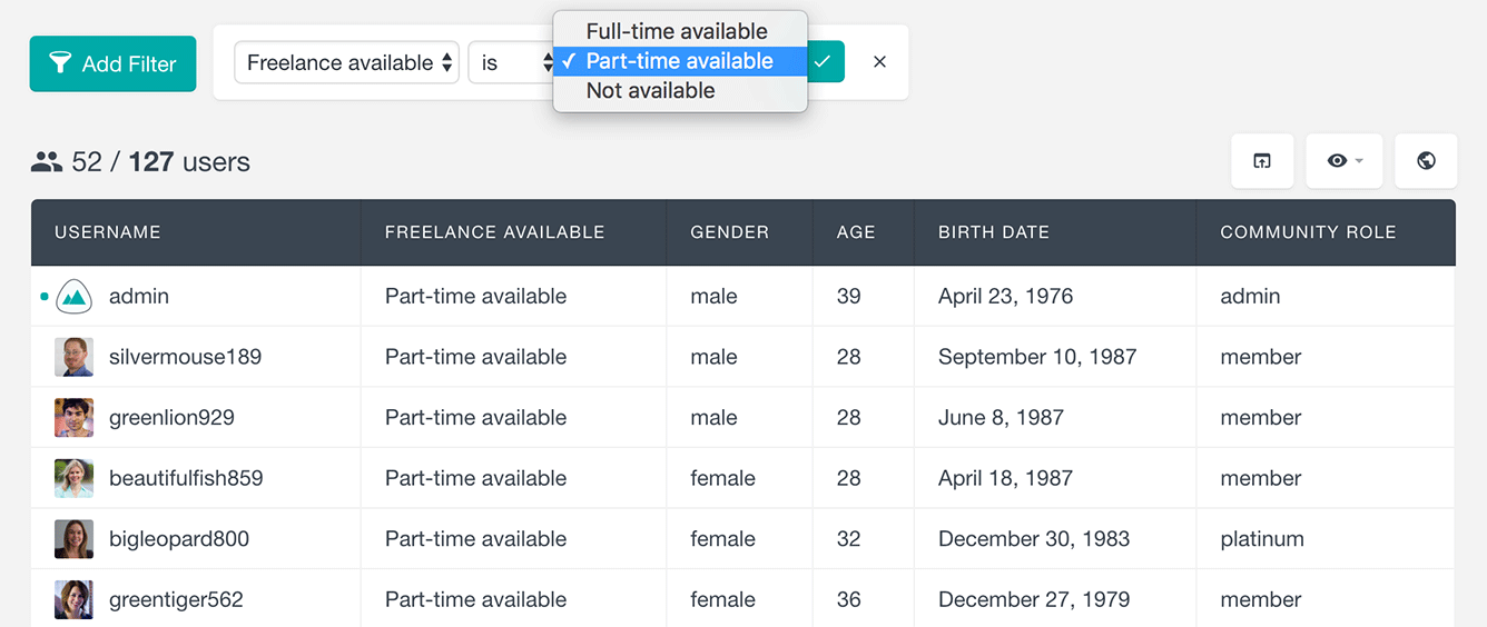 Users Insights plugin ultimate member filter users by option