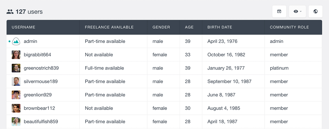 Users Insights ultimate member list member select fields