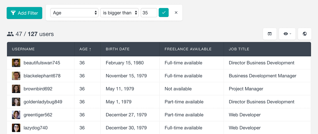 Users Insights and ultimate member search users by age number field