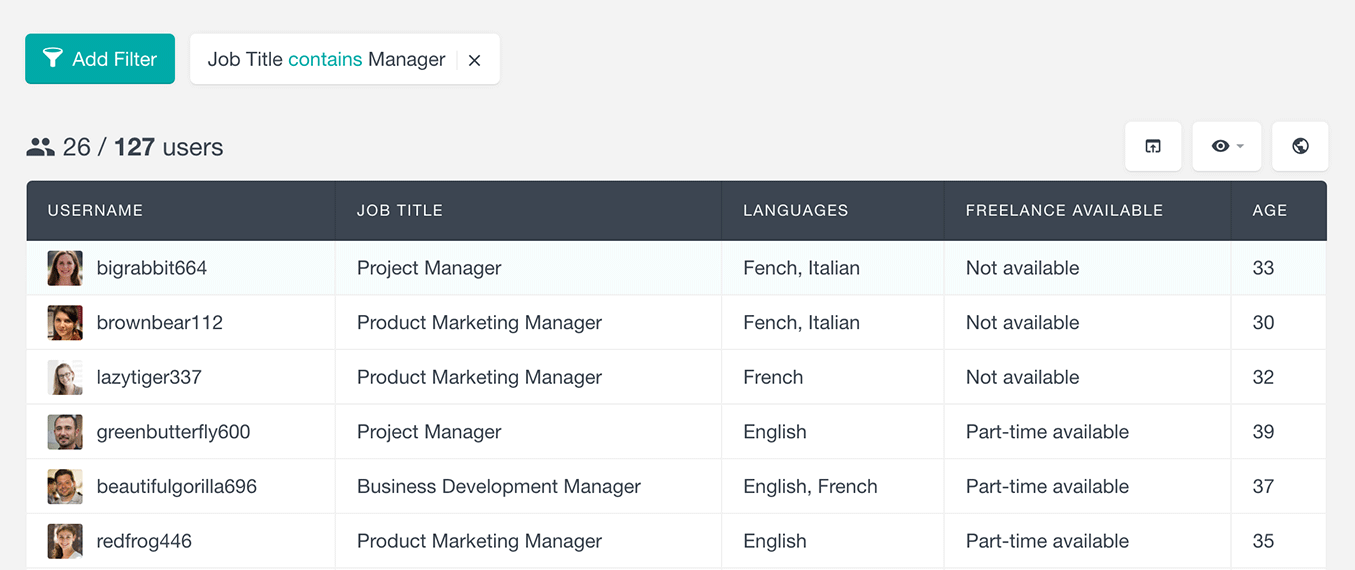 Users Insights and ultimate member search users by text field