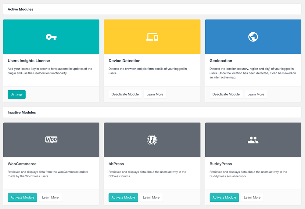 users insights module page