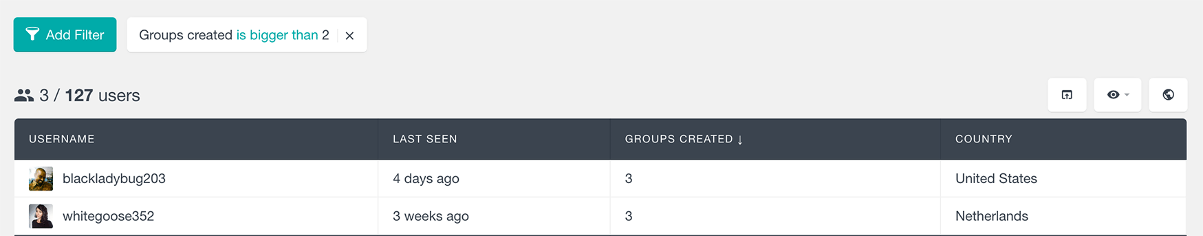 buddypress groups filter by number of groups created