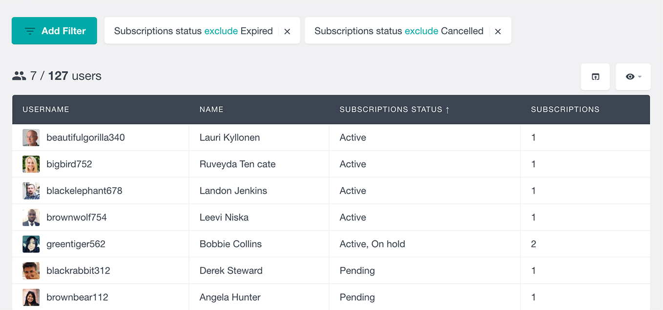 filter users by excluding WooCommerce subscription status