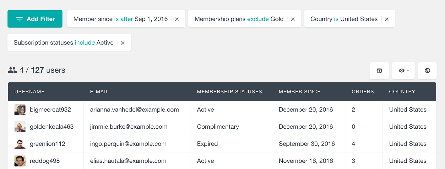 filter WooCommerce members by membership subscription and country