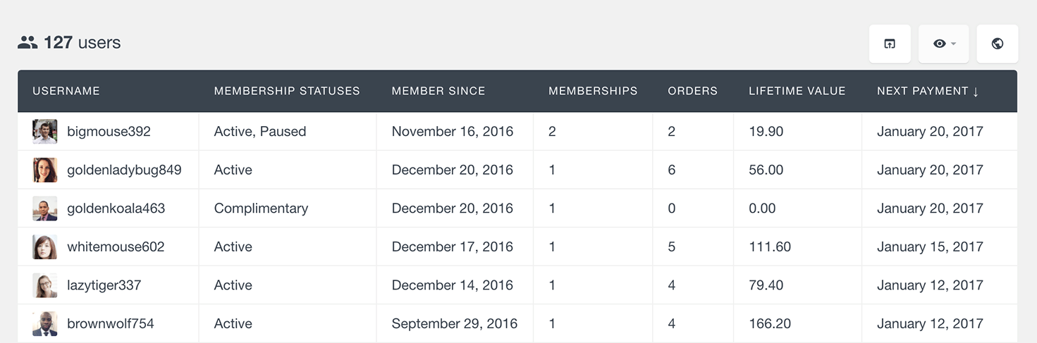 list WooCommerce membership, subscription and order user data
