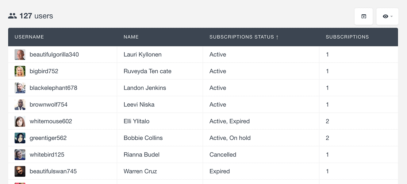 list WooCommerce subscription status in user table