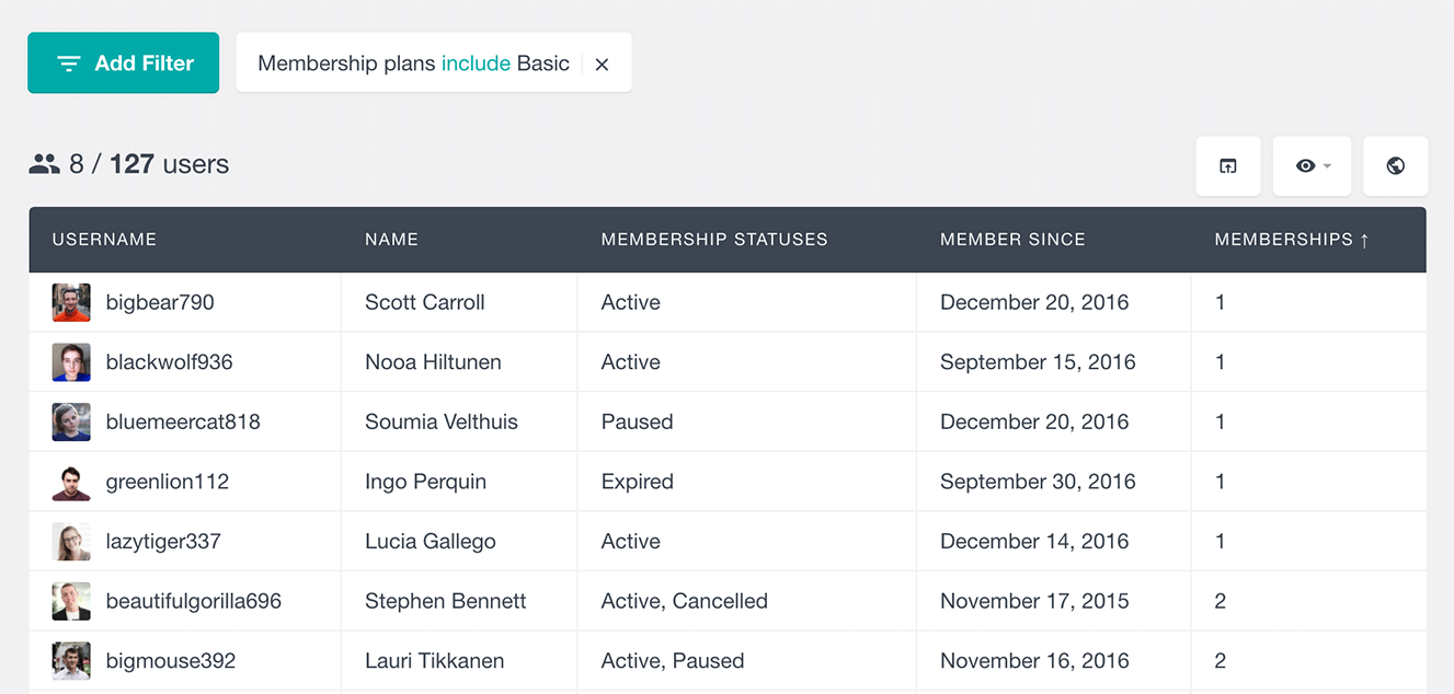 search users by WooCommerce membership plan