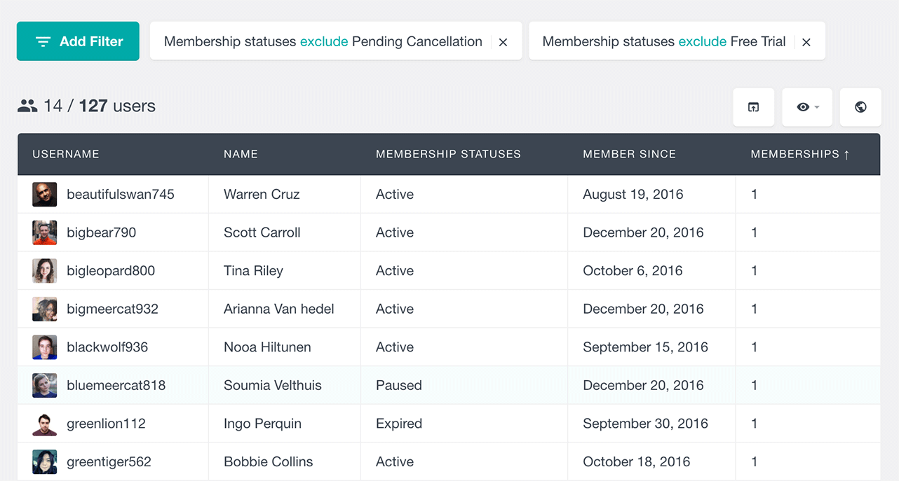 search WordPress users by excluding WooCommerce membership status