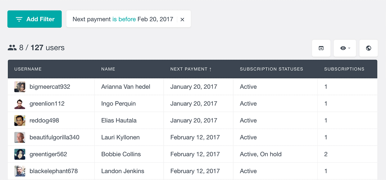 Filter WooCommerce users by subscription next payment date