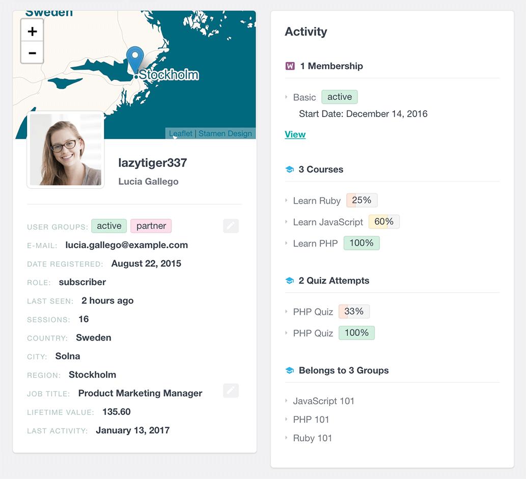 LearnDash activity in user profile