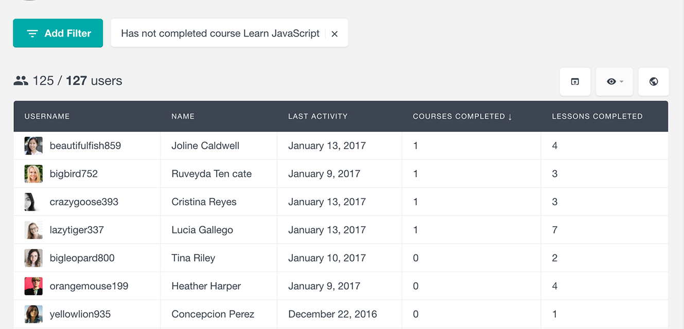 LearnDash search students by not completed courses