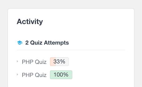 list LearnDash quiz performance of user