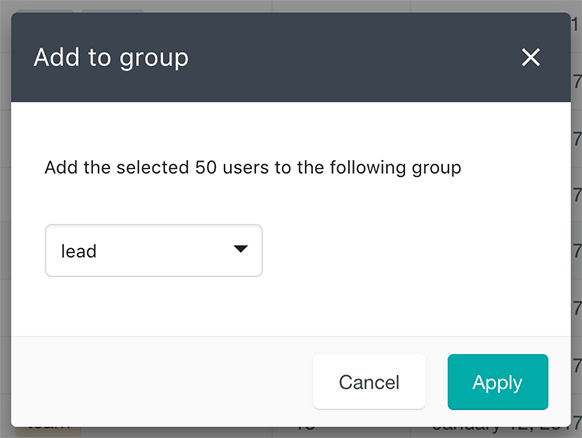 Select user group to update in bulk