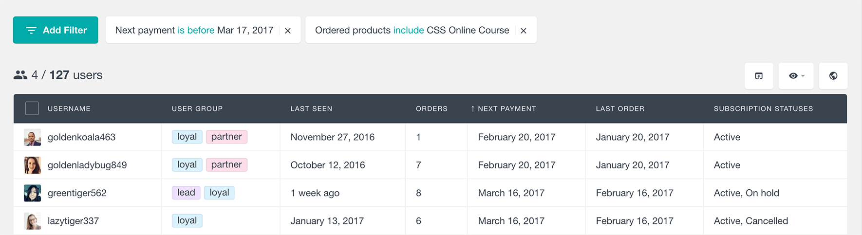 woocommerce subscriptions next payment product