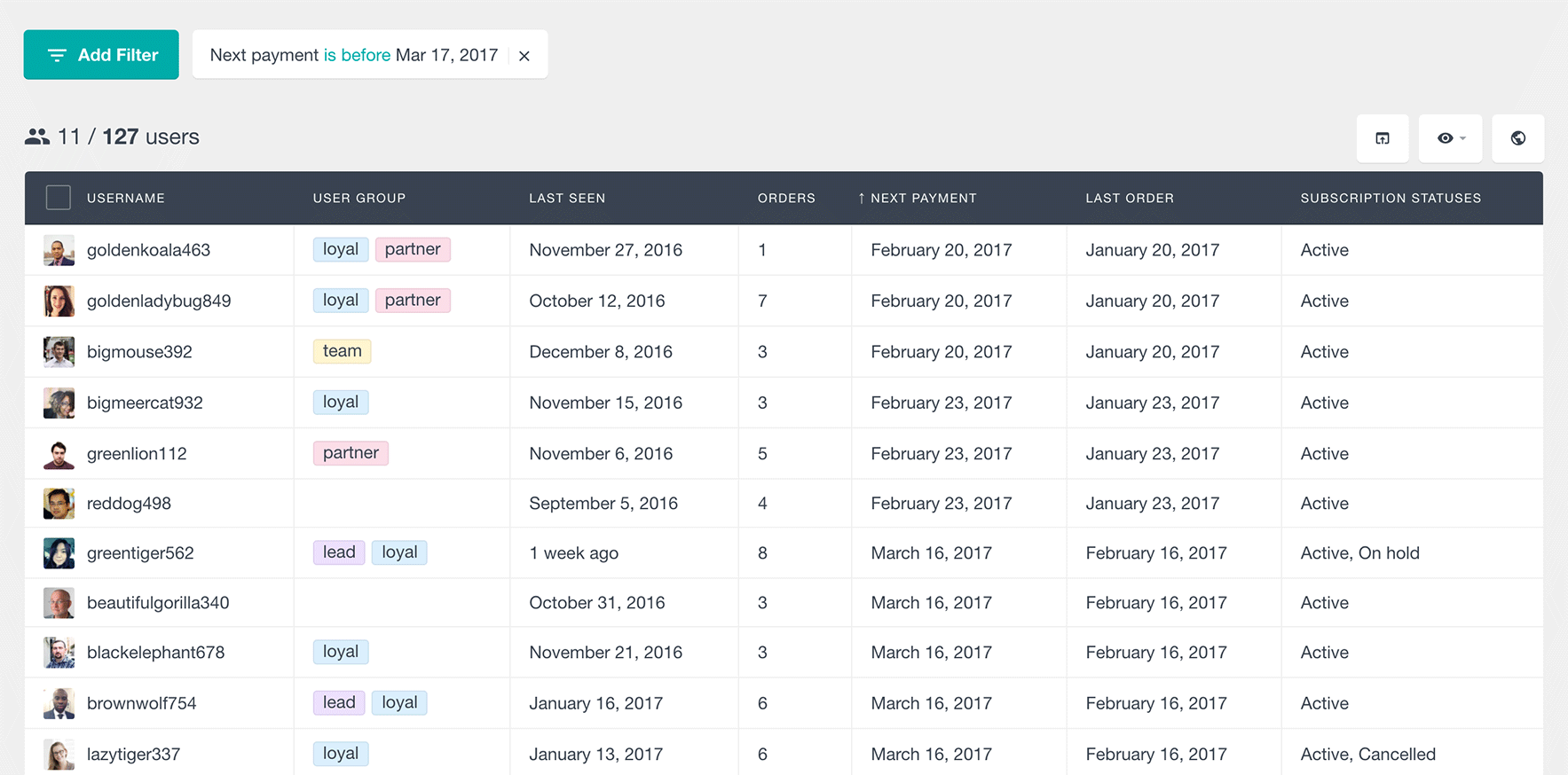 woocommerce subscriptions next payment filter