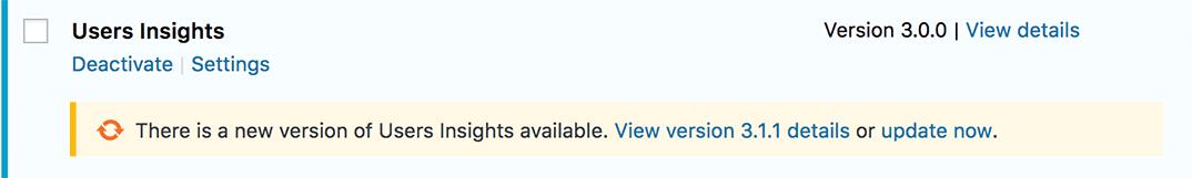 Notification to update the Users Insights WordPress plugin