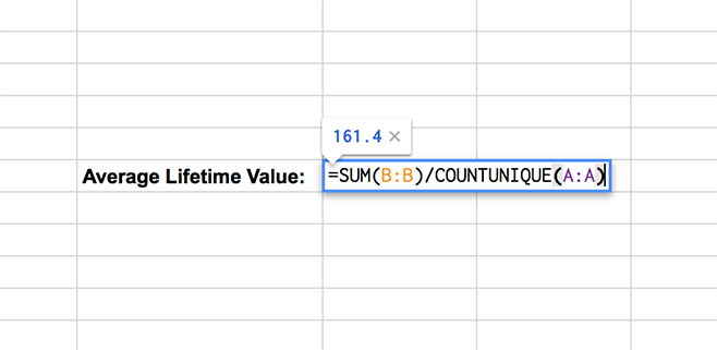 calculate average lifetime value