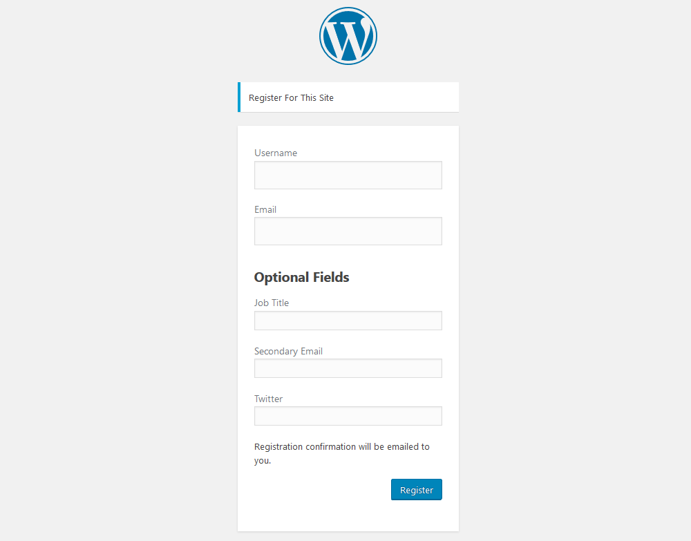 Register form with optional fields
