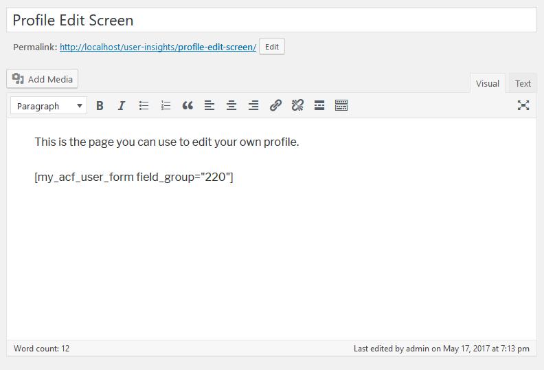 profile edit page under the WordPress admin dashboard