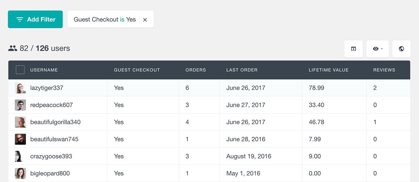 WooCommerce filter guest users