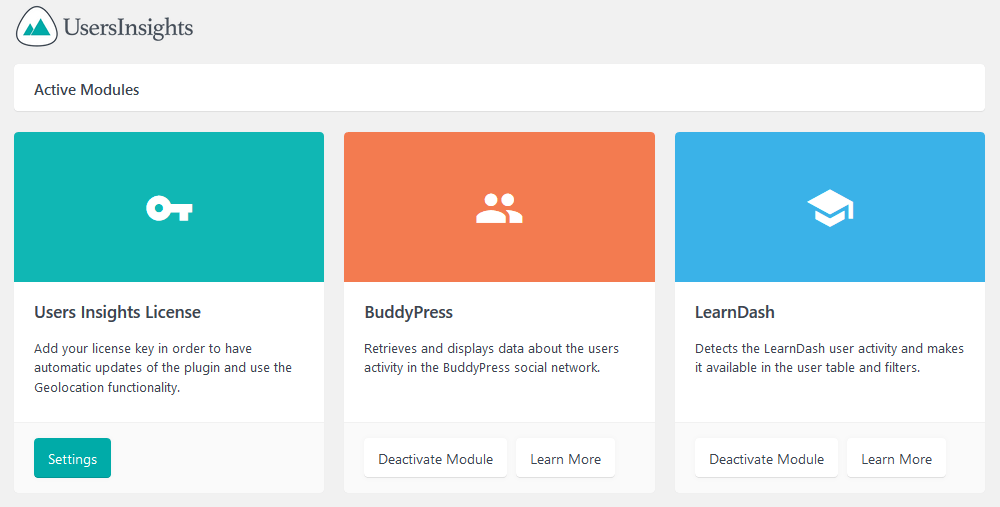 Users Insights with modules for LearnDash BuddyPress