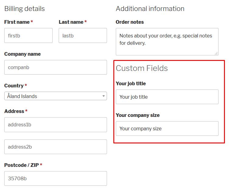 New WooCommerce custom fields in effect
