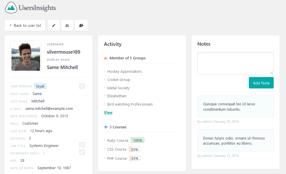 Detailed information in the User Insights user profile