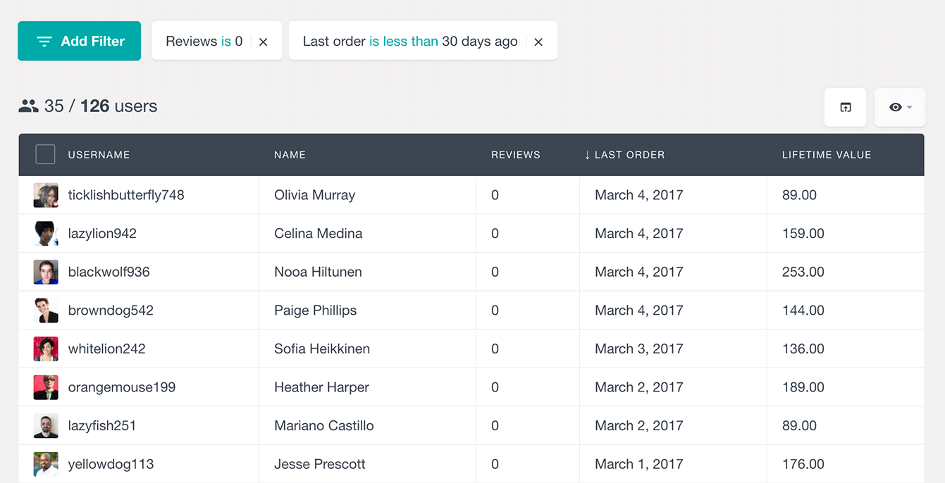 Filter WooCommerce customers by number of reviews and last order date