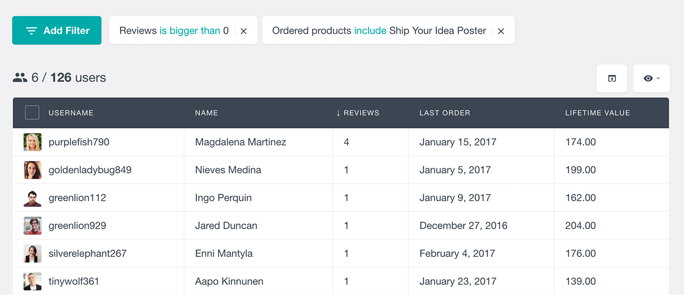 Find WooCommerce customers by product purchased and reviews