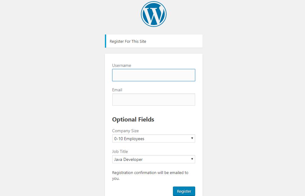 Register with custom fields
