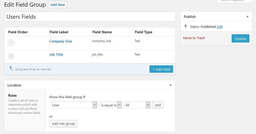 User fields group