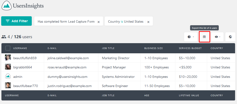 Exporting users who have filled the lead capture form