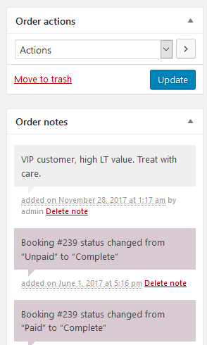 WooCommerce order notes