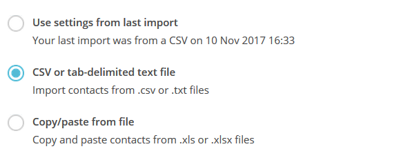 Importing a CSV file into mailchimp