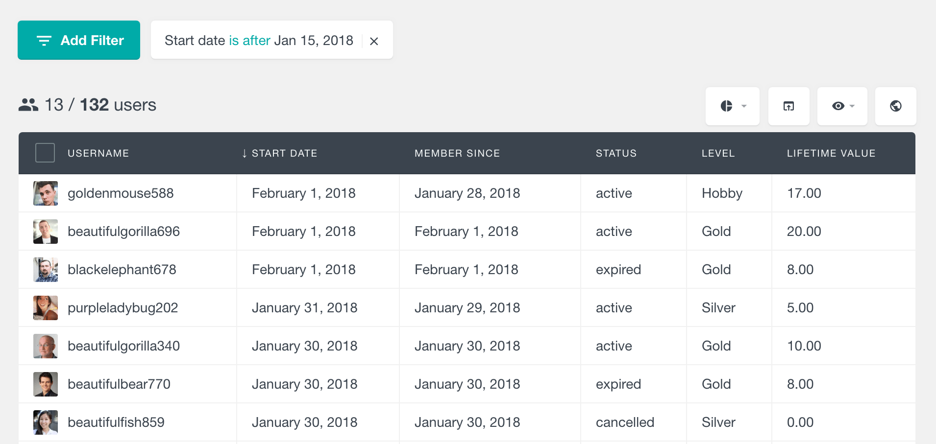 Paid memberships pro search members by start date
