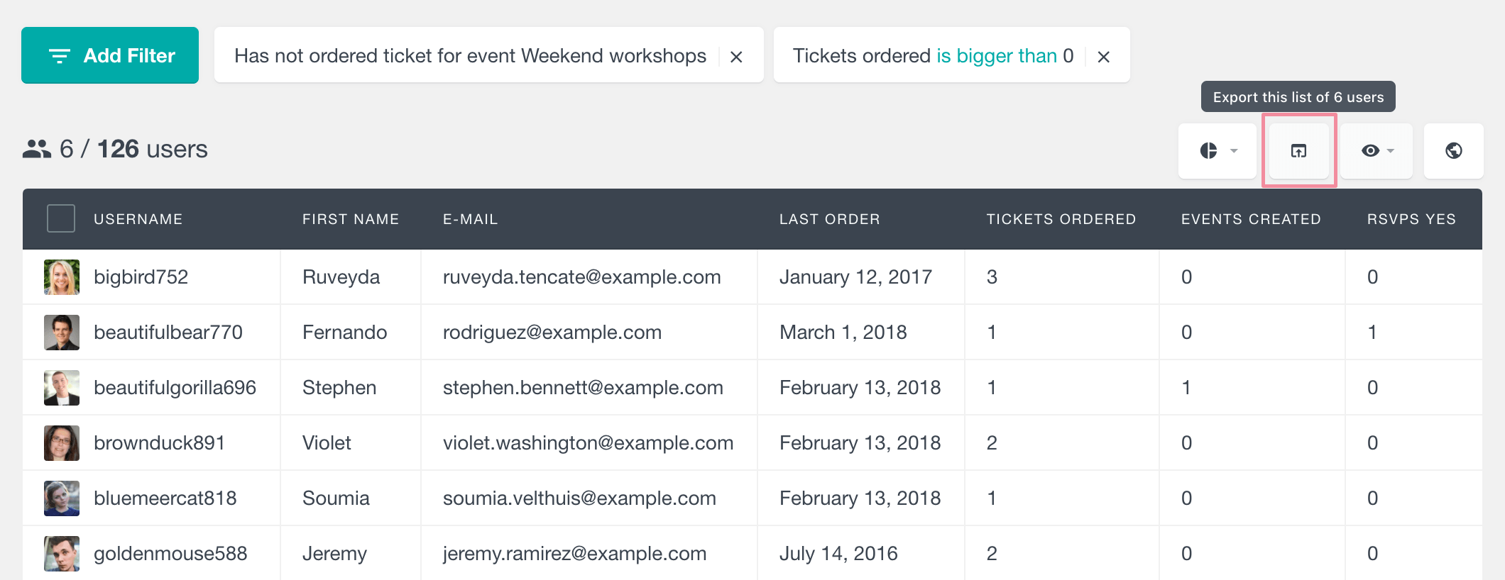 Events Calendar export user data