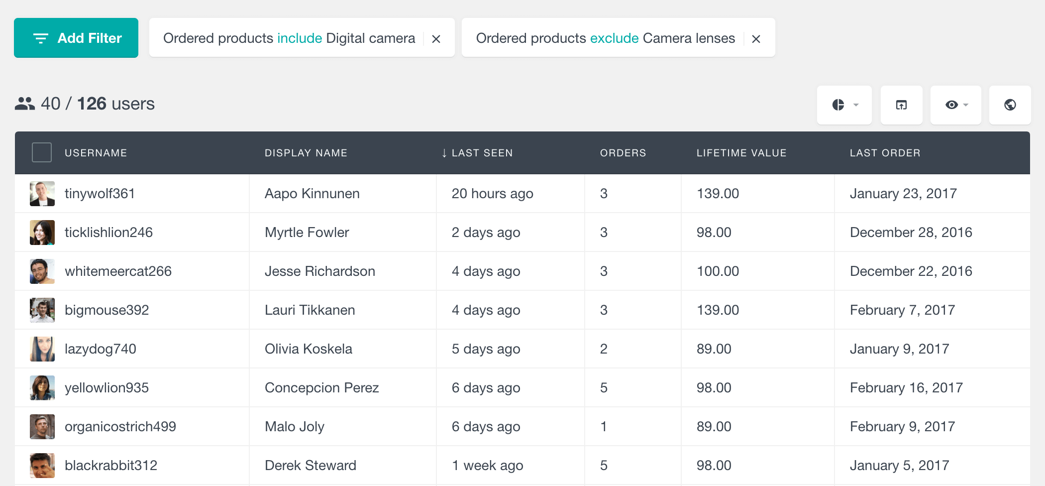 Filter WooCommerce customers by ordered complementary products