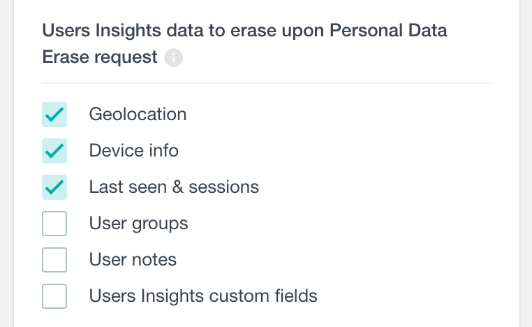 Users Insights personal data erase settings