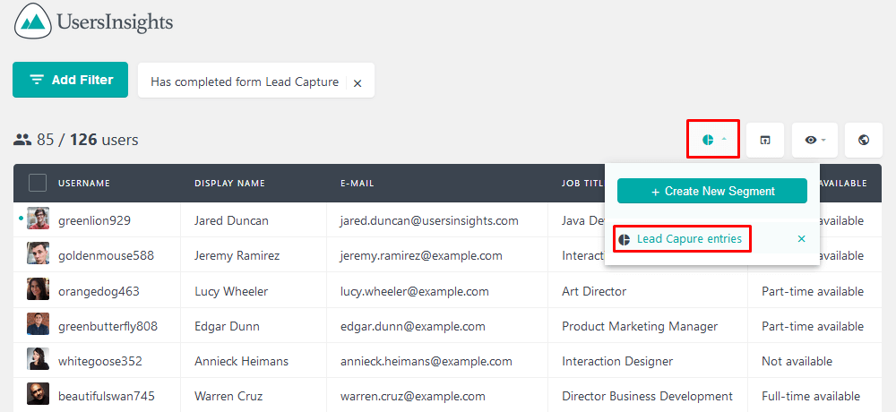 Easier Users Insights exports with segments